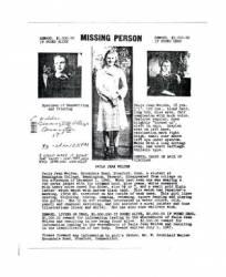 Skelbimas apie paieška dingusios Paola Velden