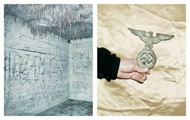 Lobių oeškotojai čia aptiko nacių artefaktų, taip pat ir šį ženklą.