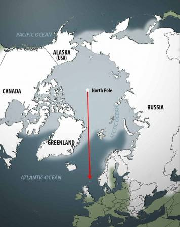 Nuo 2000 m. šiaurės ašigalio slinkimo vektorius